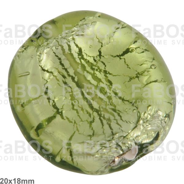 Vinuté korálky Korálek vinutý zelený /stříbro malý - FaBOS