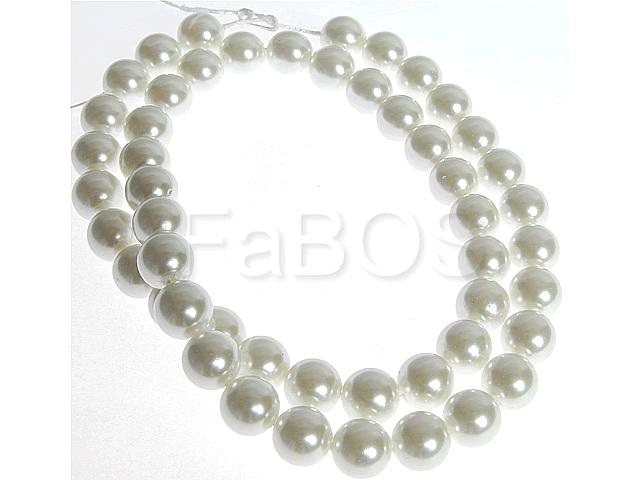 Perličky Perličky 10mm bílý vosk na šňůře 50ks - FaBOS