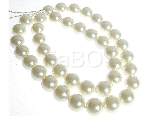 Perličky Perličky 14mm bílý vosk na šňůře 30ks - FaBOS