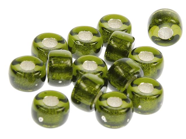 Mačkané korálky Korálek mačkaný 09x05 mm zelená - FaBOS