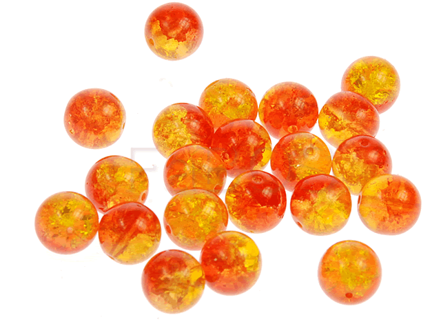 Mačkané korálky Korálek mačkaný 10x10mm oranžovo-červená - FaBOS