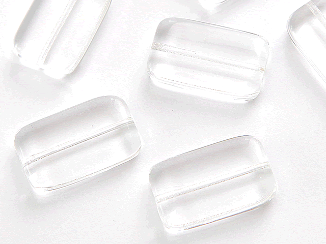 Mačkané korálky Korálek mačkaný 19x12mm krystal - FaBOS