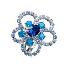 Prsten Light Sapphire kytička Swarovski