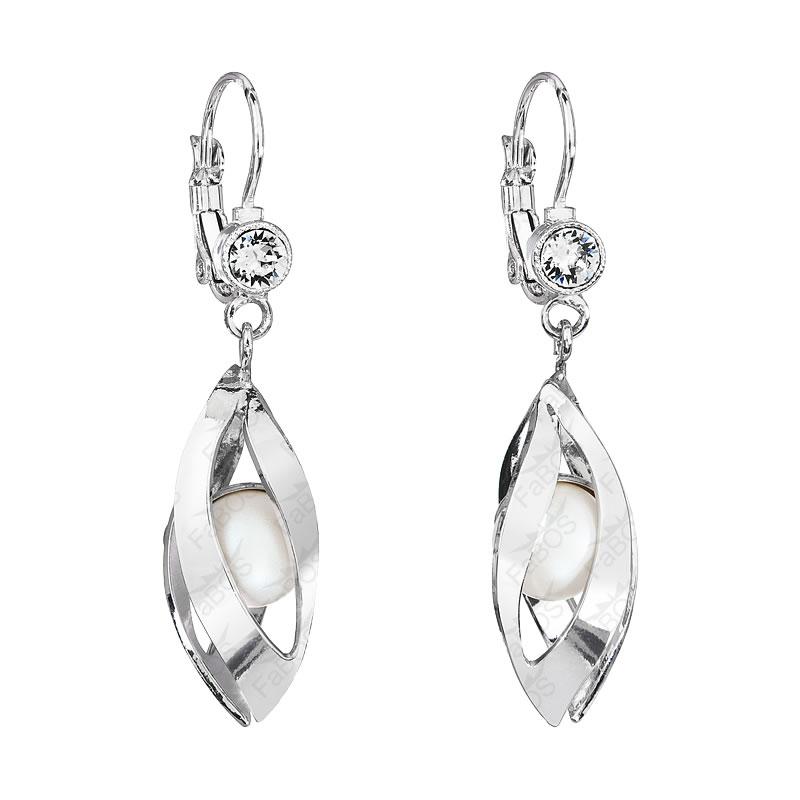 Náušnice perla s listy Pearlescent White SWAROVSKI