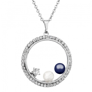 Náhrdelník Kruh s perlemi Modrá SWAROVSKI