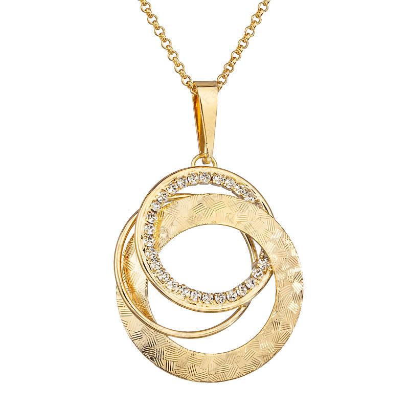 Náhrdelník Propletené kruhy Zlato  Crystal SWAROVSKI
