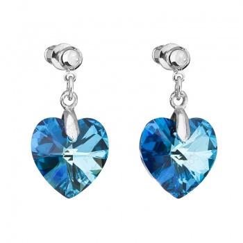 Náušnice srdce baculaté Bermuda Blue SWAROVSKI