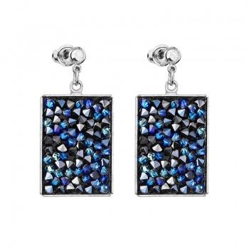 Náušnice Crystal rocks obdélník Bermuda Blue SWAROVSKI