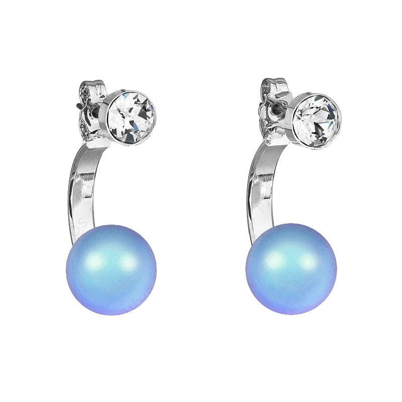 Náušnice Půlkruh perla Iridescent Light Blue SWAROVSKI