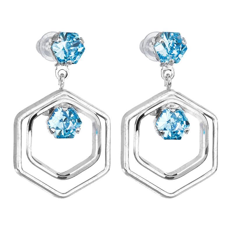Náušnice Hexagon Aquamarine