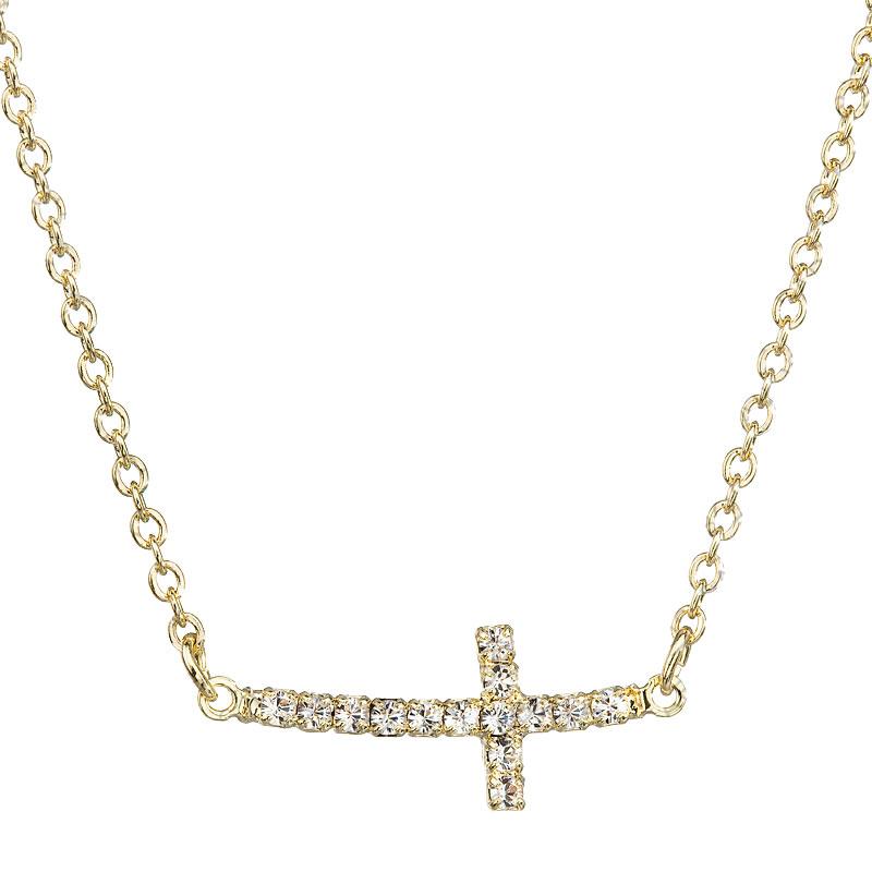 Náhrdelník Křížek Crystal zlato SWAROVSKI