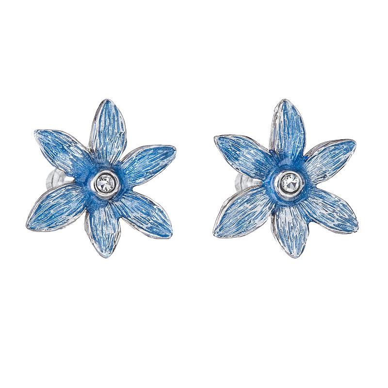 Náušnice Kytička modrá malovaná
