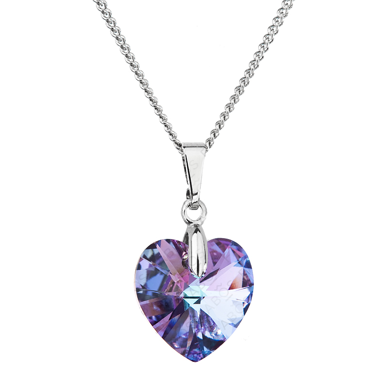 Náhrdelník srdce baculaté fialovo duhové FABOS
