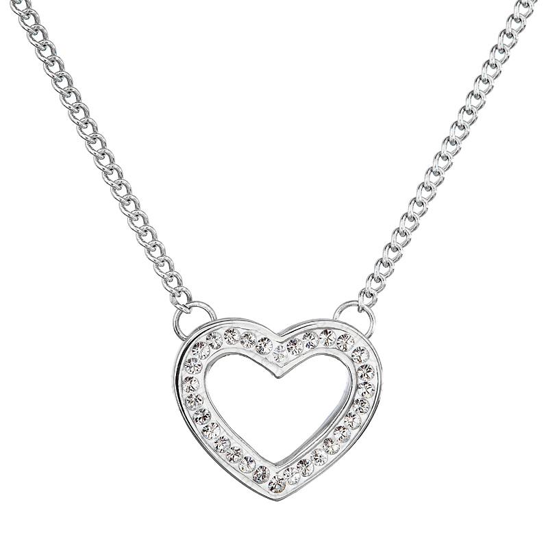 Náhrdelník srdce třpytivé crystal FABOS