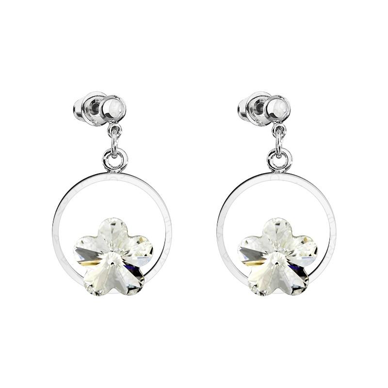 Náušnice kytka v kroužku Crystal Swarovski Elements