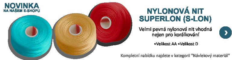 superlon, s-lon, navlekovy material, nylonova nit, navlekani, koralkovani