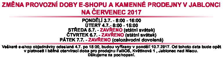 fabos, eshop, prodejna, oteviraci, doba, cervenec, 2017, provoz, jablonec